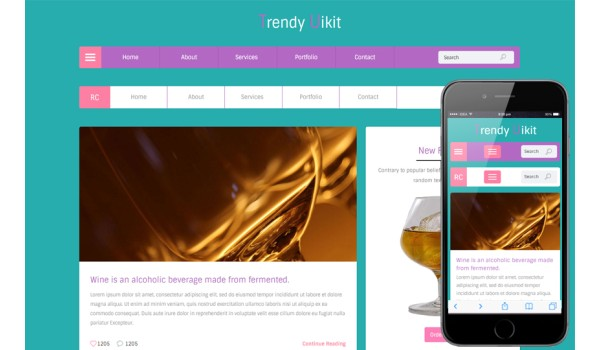 Trendy UI kit Flat Responsive Web Template