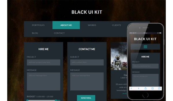 Black UI Kit a Flat Bootstrap Responsive Web Template