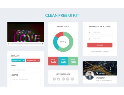 Clean a UI Kit a Flat Bootstrap Responsive Web Template