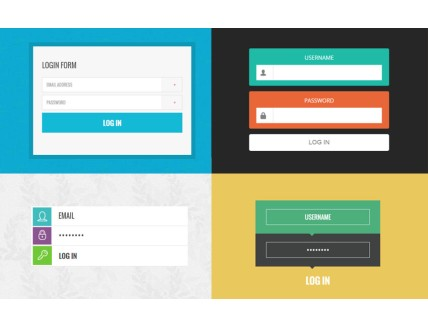 full 10 Trendy Login Forms in Flat Design Template