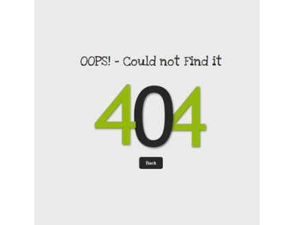 full Oops 404 Page Not Found Mobile Website Template