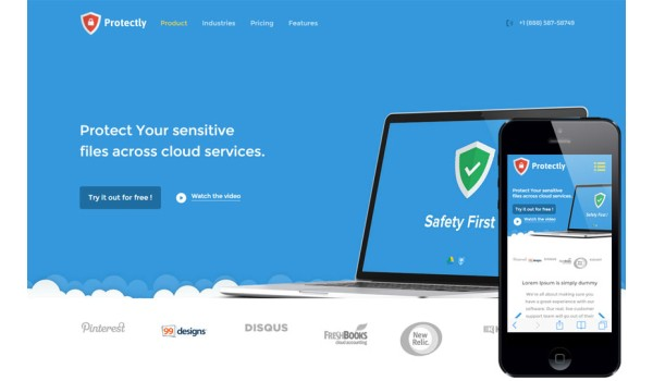 full Protectly a Web Hosting Flat Bootstrap