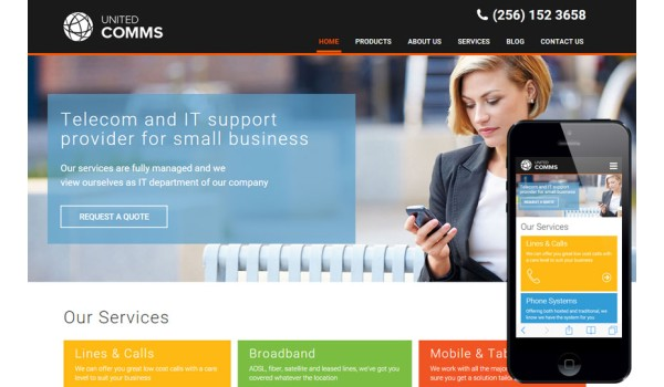 United Comms a Corporate Category Flat Bootstrap Responsive Web Template