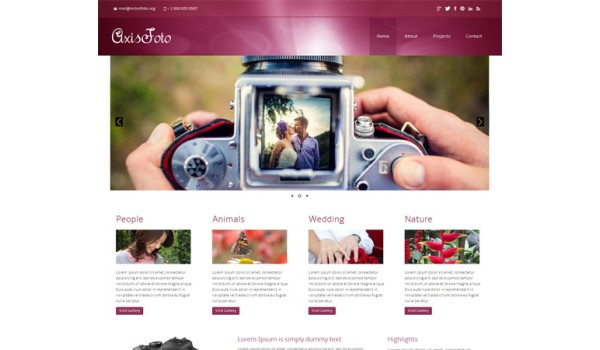 full Axisfoto a photo gallery Mobile Website Template