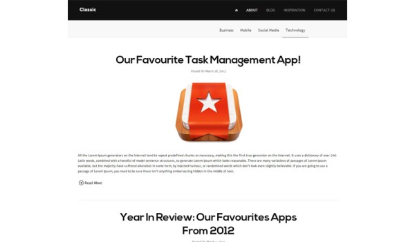 full Classic Blog Responsive Mobile Website Template