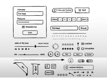PSD Hand-drawn UI Elements