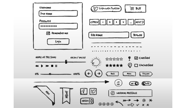 PSD Hand-drawn UI Elements
