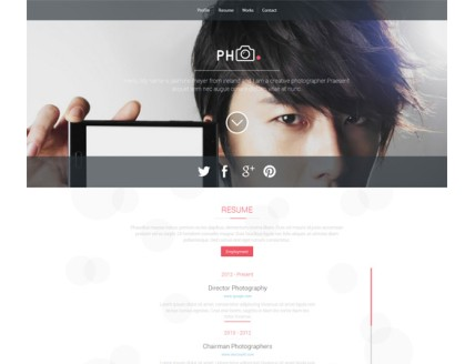 full PH CV a Photographers Portfolio Flat Bootstrap