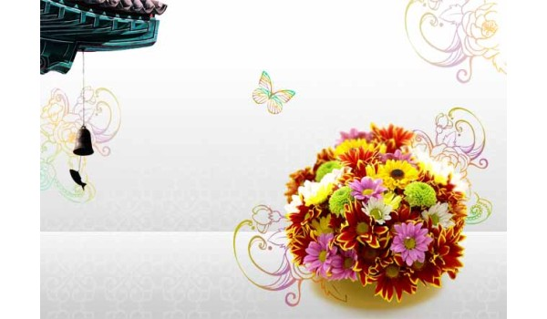 flowers background psd layered material